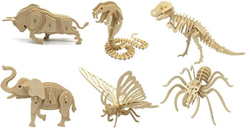 DIY 3D Wooden Animal Puzzles | Set of 6 | Bull, Butterfly, Cobra, Dinosaur, Elephant, Spider