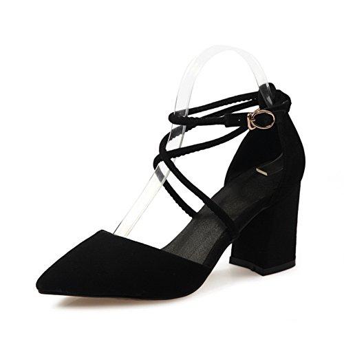 BalaMasa Womens Sandals Closed-Toe Pointed-Toe Sandals ASL04628 Black