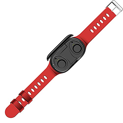 TWS Smart Fitness Bracelet Bluetooth Earphone 2 in 1,Smart Watch & Bluetooth Earbuds,Fitness Tracker,Heart Rate Blood Pressure Monitor,Waterproof with Stopwatch,Step Counter for Women Men (Red)