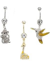 Belly Button Ring 14G 3 Pack Cute Animal Bird Monkey Giraffe Navel Rings Jewelry
