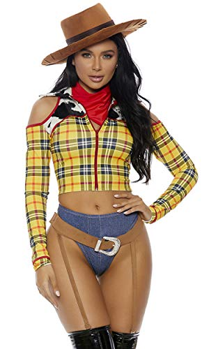 Woody Costume Women (Forplay Women's Playtime Sheriff Sexy Cowboy Movie Character Costume, Yellow,)