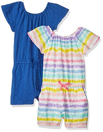 Spotted Zebra Big Girls' 2-Pack Knit Ruffle Top Rompers, Rainbow Stripe/Blue, X-Large (12) ()