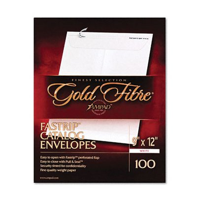 Ampad® Gold Fibre Fastrip Catalog Envelope, Side Seam, 9 x 12, White, 100/box by Ampad