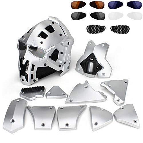 QZY Casque De Protection Modulaire pour Moto pour Entraînement Militaire Airsoft-Silver 1