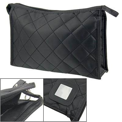 Women Zipper Closure Rectangular Makeup Purse Bag Black