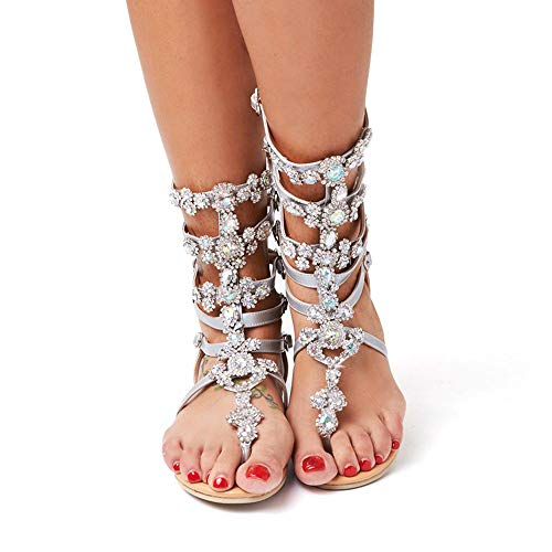 azmodo Crystal Gladiator Sandals Silver Color Plus