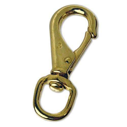 Jumbo 4-1/4'' Brass Snap Hook 3/4'' Swivel Eye - Straps, Leashes, Luggage