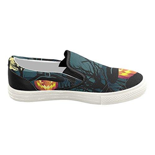 D-story Custom Happy Halloween Zucca Donna Slip-on Scarpe Di Tela Moda Sneaker Multicoloured2