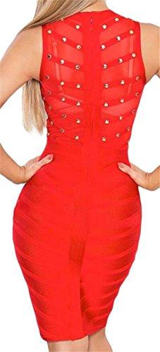 Maglia Estivi Bodycon Unghie Randello Colletto Dal Vestito Mini Coreana Donne Rosso Domple Alla Perline Axq6005S