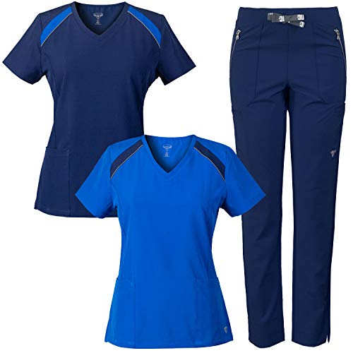 MG Superflex 3-Piece Stretch Scrubs Combo, V-Neck Tops and Multi-Pocket Pant (Navy/Royal, ()