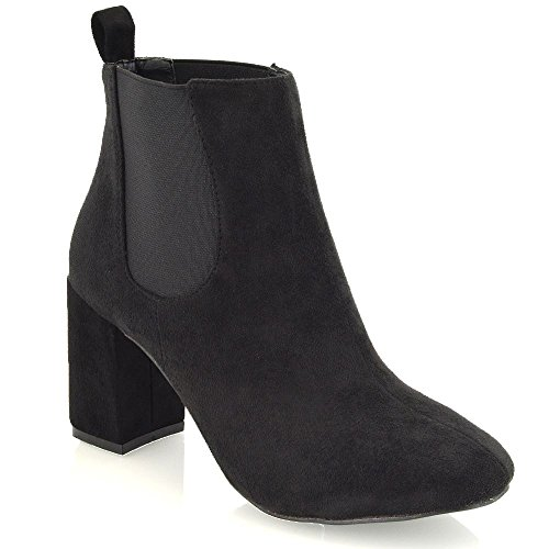Synthetic Essex Womens Suede Heel Faux Block Elasticated Chelsea Black Boots Glam High RqBExRrwTn