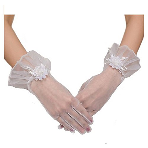 Women Bridal Elastic Gauze Lace Flowers Wrist Length Finger Gloves for Wedding Evening Banquet Prom Party (White Gauze)