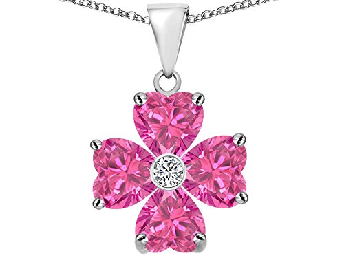 Star K 6mm Heart Shape Created Pink Sapphire Lucky Clover Pendant Necklace Sterling (Pink Sapphire Sapphire Necklace)
