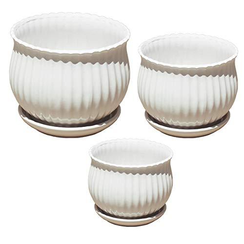 Plant Pots Indoor Planters Ceramic Flower Pots Garden Plants Containers,Set of 3 (White Art Planters)