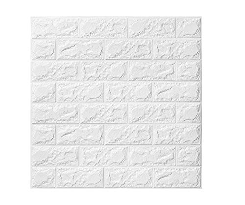 Kasliny Wall Paper 10 Packs, 3D Brick Wall Stickers Self-Adhesive Panel Decal PE Wallpaper - Peel and Stick Wall Panels for TV Walls, Sofa Background Wall Decor (38.7 sq.ft Brick White)