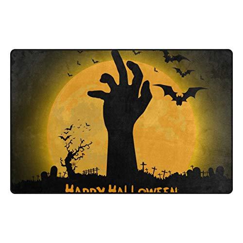 Doormat Happy Halloween with Zombie Hand Printed Non Slip Backing Entryway Floor Front Mat Area Rug Carpet Indoor/Bathroom Decor 60x39in