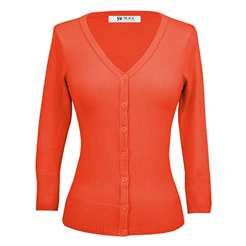 YEMAK Women's V-Neck Button Down Knit Cardigan Sweater Vintage Inspired,Fiesta,1X (PLUS)