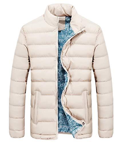 Sleeve Men's Long Collar Jackets Plus Zip Mogogo Down Stand Size Thick Khaki Pockets 8fdBqzwnB
