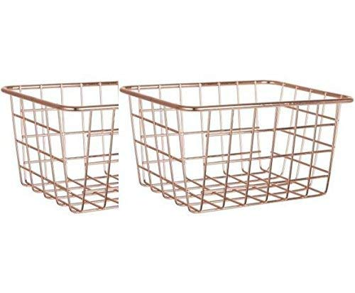 2 pack Rose Gold Wire Basket Organizing Storage Crafts Decor Kitchen ()