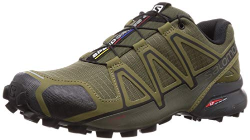 Salomon Men's Speedcross 4   Trail Running Shoe, Grape Leaf/Burnt Olive/Black 9.5 Standard US Width US