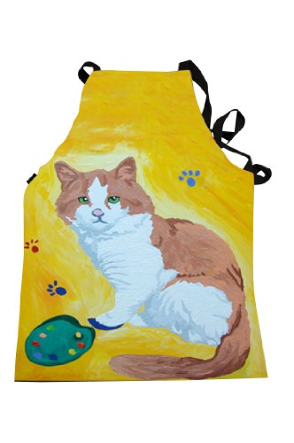 Animal Apron - Support Wildlife Conservation, Read How (Cat - Paw in the Paint) (Wild Animal Paw Prints)