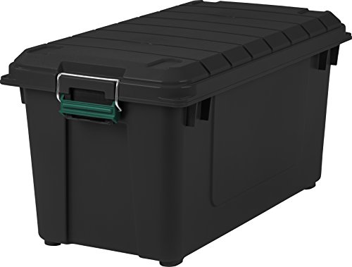 IRIS USA, Inc. Remington 82 Quart WEATHERTIGHT Storage Box, Store-It-All Utility Tote, Black