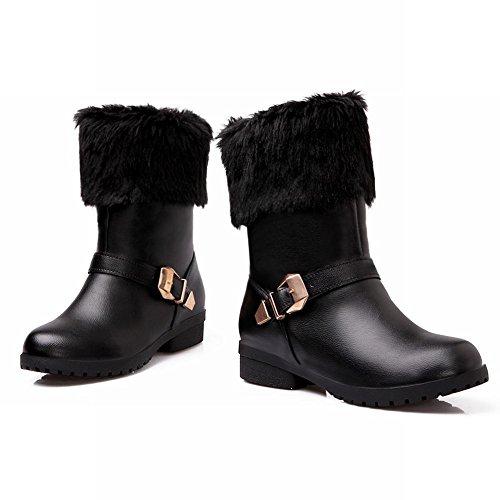 ec80800d05cd Mee Shoes Damen Niedrig chunky heels runde warm gefüttert Stiefel Schwarz  ...