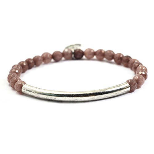 Tom+Alice Fashion New Style Women's 6mm Natural Stone Beaded Bracelets with Circle Tube 14K Gold Silver Plated(Indy - Style Tom
