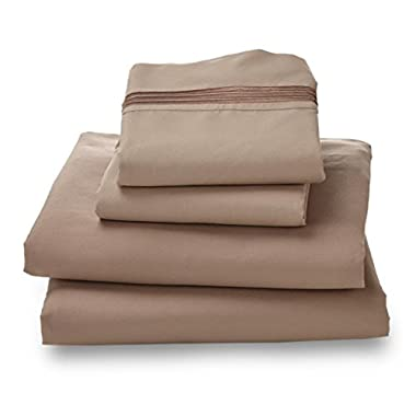Queen Sheet Set Khaki - Double Brushed Ultra Microfiber Luxury Bedding Set