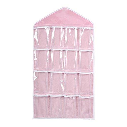 UEETEK 16 Pockets Hanging Closet Door Hanging Bag Shoe Rack Hanger Underwear Socks Bra Ties Storage Tidy Organize (Pink) (Shoe Closet Hangers For)