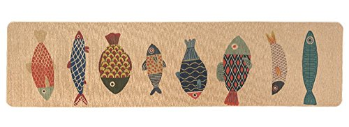 Wolala Home Natural Rubber Modern Runner Area Rug Cute Fish Design 18''x59'' Indoor Outdoor Kitchen Entry price tips cheap