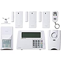 SABRE Home Expandable Wireless Burglar Alarm Security System - Includes Motion Door and Window Sensors LCD Touch Screen Display and Remote Control Key FOB (Alarm Set Bundle)