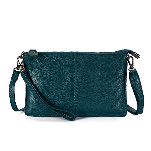 - Befen Women's Leather Wristlet Clutch Phone Wallet Mini Crossbody Purse Bag with Card Slots (Teal)