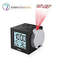 Digital Alarm Clock for Bedrooms with USB Charging, Projection Clock Battery Operated with Temperature, 7-Color Nightlight for Kids, 12/24 Hours, Dimming Display