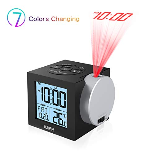 iCKER Projection Alarm Clock for Bedrooms, Digital Clock for Kids, 12/24 Hours, Indoor Temperature/Day/Date Display with Dimming, 7-Color Backlight, Battery & DC Powered]()