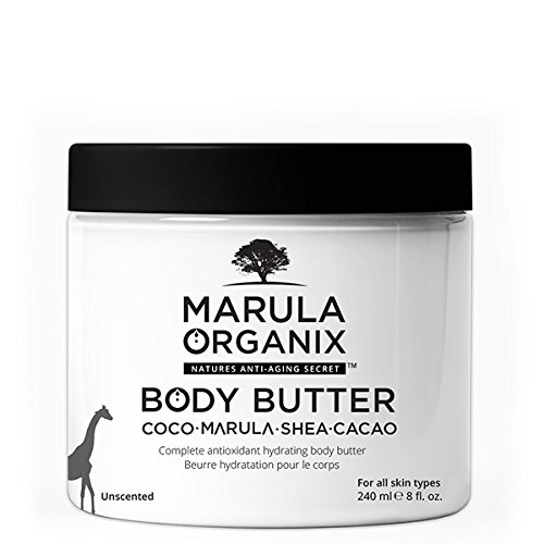 Marula Organix Body Butter (8oz) Complete Antioxidant rich hydrating body Butter with Organic Coconut oil, Organic Raw Shea and Organic Cocoa butter for ultimate skin care!