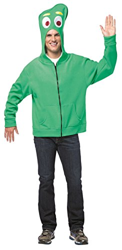 Pokey Costume (Adult Unisex Gumby Zip Hoodie Green (Small))