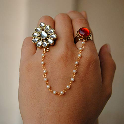 (Red Kundan 2 Finger Ring Linked With Pearl Chain. Adjustable Double Rings. Teardrop White Kundan Flower. Ethnic Fashion Jewellery. Contemporary, Handmade Unique Traditional)