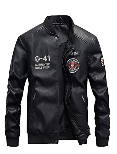 (Mordenmiss Men's Basic Leather Letter Man Baseball Varsity Jacket Bomber Outwear Style 2 Black XL)
