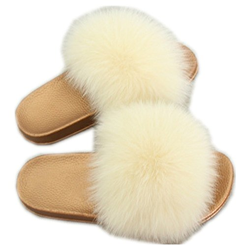 qmfur Glod Slides Fashion Flat for Women Fur Cream Girls Slippers Shoes Summer Soft Fox Real rrqHf8