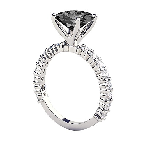 - 3.90 CTW 14K White Gold Black Diamond Ring with Diamonds Princess Cut Solitaire With Accents Designer