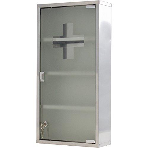 Medizinschrank Arzneischrank Erste Hilfe Schrank 30 x 13 x 60 cm - mit 4 Fächern und Glas-Tür zum Abschließen mit 2 Schlüsseln für kindersichere Medikamenten Lagerung