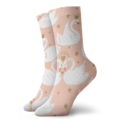 YUANSHAN Socks Double White Swan Women & Men Socks Soccer Sock Sport Tube Stockings Length 11.8Inch]()