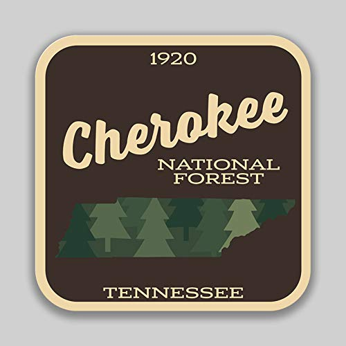 JMM Industries Cherokee National Forest Tennessee Vinyl Decal Sticker Car Window Bumper 2-Pack 4-Inches 4-Inches Premium Quality UV-Protective Laminate PDS1373