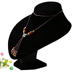 Wuligirl 3D Bust Display Stand Black Velvet Necklace Holder Jewelry Displays for Craft shows (7.87 inch(Suitable for 45cm /17.71in necklace))