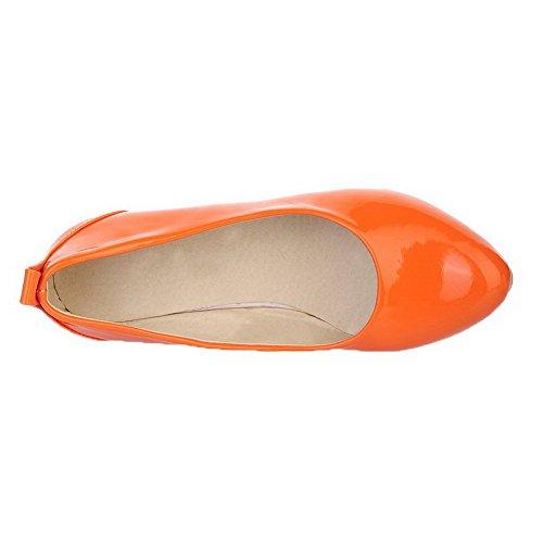 Solid Orange Toe Heels Pumps Shoes Low WeenFashion On Women's Pull Pu Round TqUPB