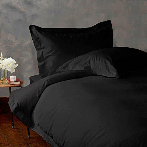 American Linen 500-Thread-Count Super Soft Zipper Closure Designer 1-Piece Luxury Duvet Cover Full/Double Solid Black
