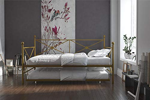 DHP Daybed with Trundle, Full, Gold Brass Full Size Bed