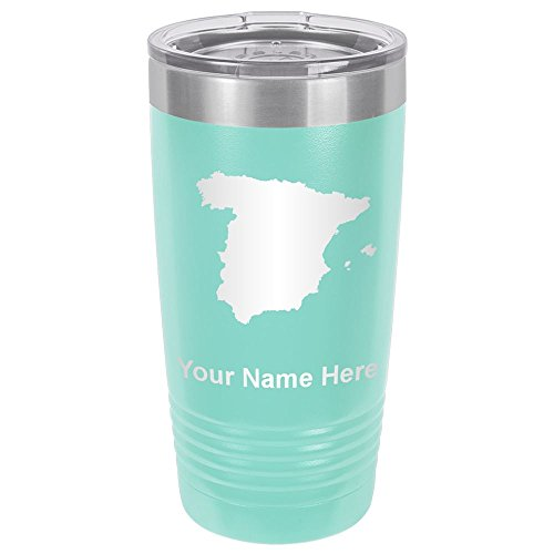 20oz Tumbler Mug, Country Silhouette Spain, Personalized Engraving Included (Teal) by SkunkWerkz