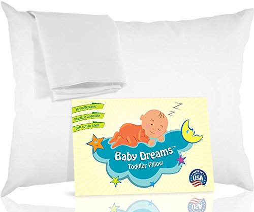 BABY DREAMS Toddler Pillow + Pillowcase, White, 13x18, 100% Hypoallergenic Soft Cotton, Made in USA